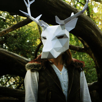 Stag or Reindeer full mask  - Make your own using this simple PDF download