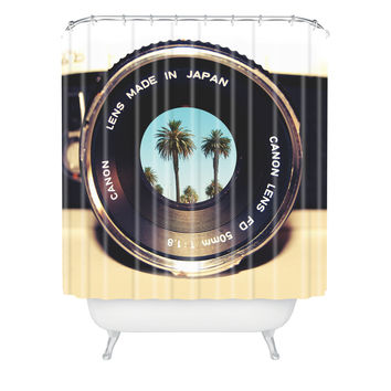 Bianca Green Focus On Palms Shower Curtain