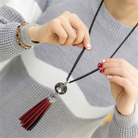 Brand New Leather Long Tassel Pendant Necklaces for Women Black Chains Acrylic Stone Locket Necklace Collar Fashion Jewelry