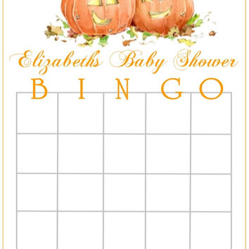 Pumpkin Patch Fall Themed Baby Shower Bingo Cards