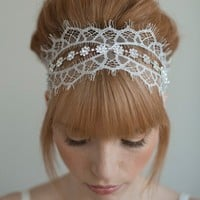 Chantilly and rhinestone self tie headband Style 016 by myrakim