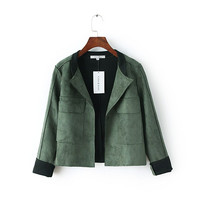 Big pocket Turn-down Collar Suede Cardigan