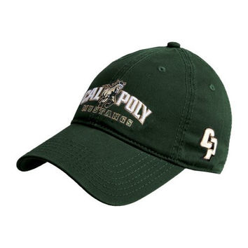 Cal Poly Dk Green Twill Unstructured Low Profile Hat 'Calpoly Mustangs Primary Mark'