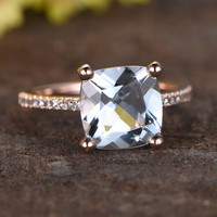 2.2 Carat Cushion Cut Aquamarine Diamond Engagement Ring 14k Rose Gold Curved Halo Basket Stacking Band
