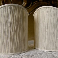 Pair of Clip-On Shield Shades Rubelli Ivory Pleated Taffetas Mini Lampshade - Handmade in Italy