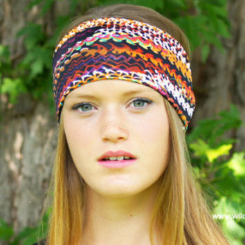 wide boho headband, yoga headband, ladies fashion headband, stretch fabric headband,  womens fashion headwrap, workout headband,