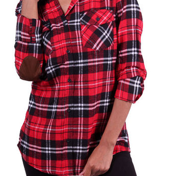 Red & Black Plaid Plaid Flannel Button Up w/ Suede Elbow Patches