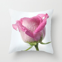 Pink Pillow Cover White Pillow Covers Shabby Chic Home Decor Rose Cushion Flower Photo Pillow Cotton Decorative Pillow Cover