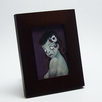 nude zombie pinup girl ACEO print illustration