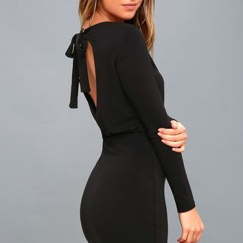 Vision of Love Black Long Sleeve Bodycon Dress