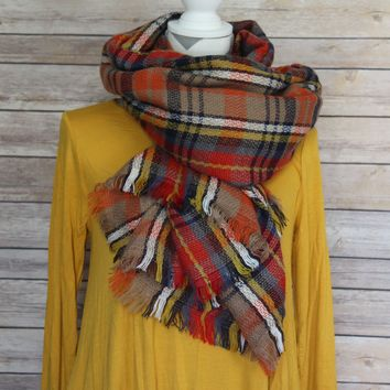 Mustard and Red Plaid Scarf