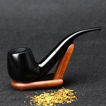 New Ebony Wood Pipe 15cm Bent Black Smoking Pipe Handmade Tobacco Pipe 9mm Filter Wooden Pipe with Tools Smoke Accessory SP-508