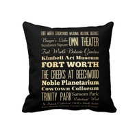 Fort Worth City of Texas State Typography Art Throw Pillow