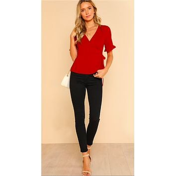 RILEY'S RED WRAP IT UP BLOUSE