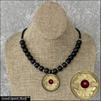 Wolf and Raven Antique Gold Finish Coin In Black Setting on Leather Necklace with Gemstone Beads