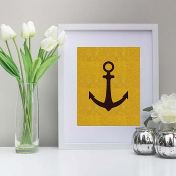 Gold Sparkles Nautical Anchor Art Print - 8x10 in - Instant Download - Printable, Coastal, Fun, Gold Art Print, Decor, Coastal, Dorm Decor