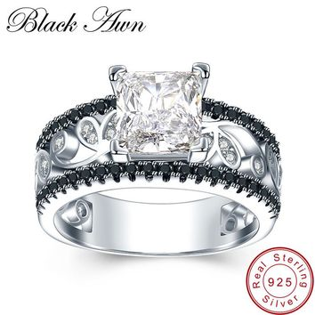 BLACK AWN  925 Sterling Silver Fine Jewelry Trendy Engagement B abbf7908e