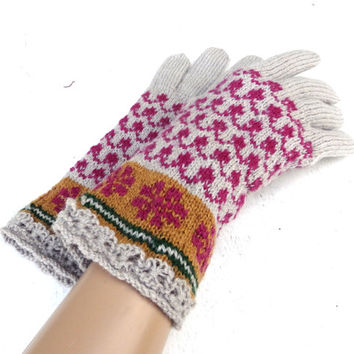 knitted wool winter gloves with fingers, knit colorful latvian gloves, grey purple hand warmers, gray arm warmers women men teen accessories