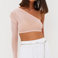 Nude Sheer Mesh Ruched One Shoulder Crop Top