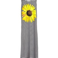 Little Pretties Stripe Sunflower Print Maxi Dress (Big Girls)