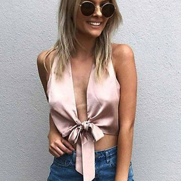 Deep V-Neck Strappy Cami Crop Vest Tank Top