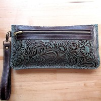 Leather Wristlet, Zippered Clutch, Toiletry Pouch,Wallet, Everyday Bag,Turquoise