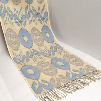 ikat women scarf, table runner, handmade scarf, hand dyed, cream brown blue ikat scarf, shawl, écharpe, Schal, bufanda, accessories