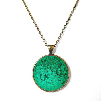 Teal Vintage Inspired Antique Globe Necklace, Vintage Inspired Geometric Minimalist Jewelry, Blue Everyday Map of the World Jewelry