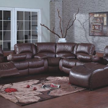 4 pc brown bonded leather sectional sofa with recliners and chaise lounge and drop down arms in the center