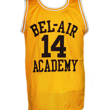 Will SMITH #14 The Fresh Prince of Bel-Air Basketball Jersey Yellow Any Size XXS to 5Xl