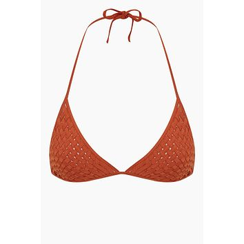 Donovan Weaving Triangle Bikini Top - Ginger Orange