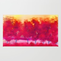 Red Trees Abstract Landscape Rug by Jennifer Warmuth Art And Design