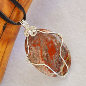 Wire wrapped pendant, jasper necklace, poppy jasper, pendant necklace, boho style