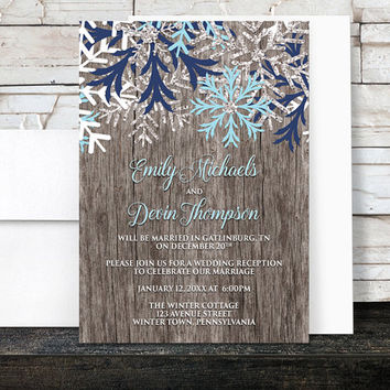 Rustic Winter Reception Only Invitations - Country Wood with Navy Aqua Blue Snowflake design - Post-Wedding Reception - Printed