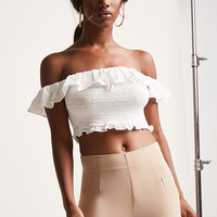Smocked Off-the-Shoulder Ruffle Crop Top