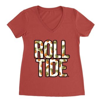 Official NCAA Alabama Roll Tide - Hawaiian Floral 18ALHAW02 Premium Womens Ideal V Neck