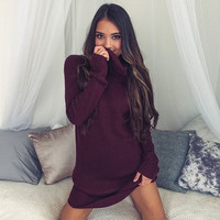 Red Turtleneck Sweaters Dress