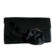 Vintage Black Clutch Purse - Coblentz Original- Bow Design and Matching Coin Purse