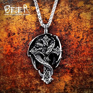 Beier 316L stainless steel Norse Vikings Pendant Amulet dragon in cross necklace guardian  Original Animal Jewelry  LP339