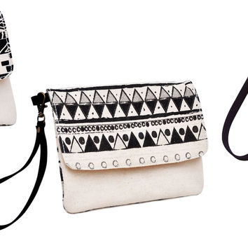 Black-White Aztec Patterns Beige Printed Canvas Wallet Clutch Purse WAS_12