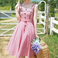 Women Retro Plaid Cotton Midi Dress Sleeveless with Waist Tie Summer Party Dress Red