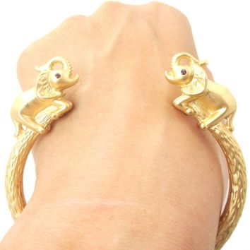 Beautiful Elephant Animal Wrap Around Bangle Bracelet Cuff in Gold | Animal Jewelry