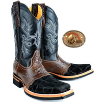Mens King Exotic Elephant Boots Square Toe With Saddle Vamp