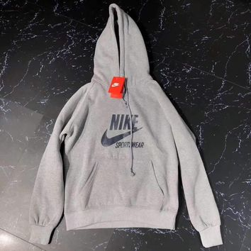 nike sportswear fashion hooded top pullover sweater sweatshirt hoodie gray