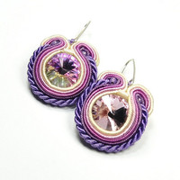 Hand Embroidered Soutache Earrings. Purple Soutache Earrings with Swarovski Crystal. Oriental Earrings. Soutache Jewelry.