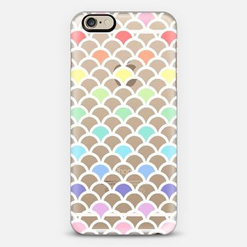 Pastel Rainbow Scallop Pattern Transparent iPhone 6 case by Organic Saturation | Casetify