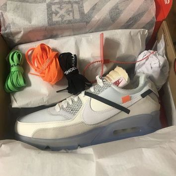 DCCKIN2 NEW! OFF WHITE X Nike Air Max 90 'ICE' The Ten Size 10.5, Virgil Abloh