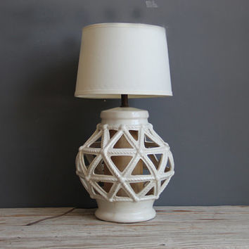 Tall White Lattice Ceramic Lantern Lamp