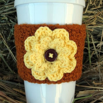 Crochet Autumn Flower Coffee Cup Cozy