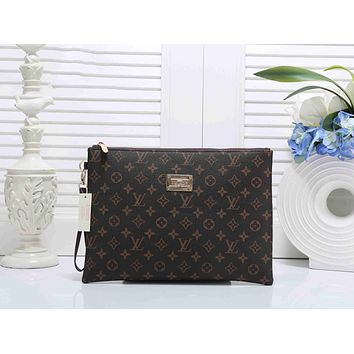Louis Vuitton LV Fashion Woman Men Envelope Clutch Bag Leather File Bag Tote Handbag Print I-KSPJ-BBDL